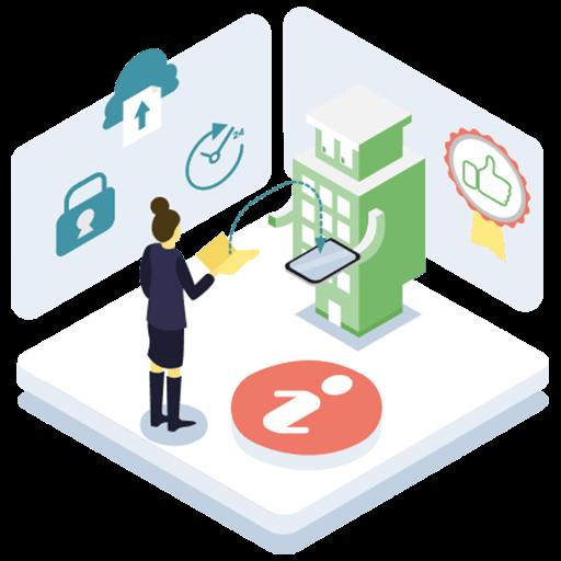 Bildin échange des données avec une personne, autour de lui les pictogrammes de sécurité, temps réel et fiabilité