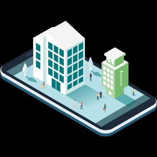 Immeuble logements avec Bildin sur une tablette