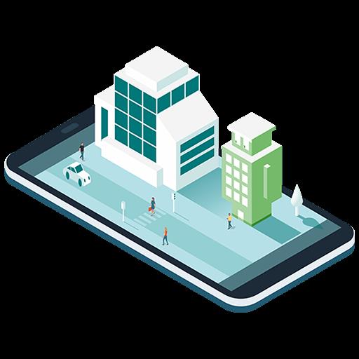 Bâtiment bureaux avec Bildin sur une tablette