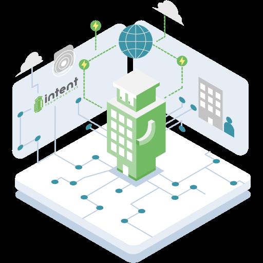 Bildin centré sur un socle et connecté aux bâtiments, au réseau, aux objets.