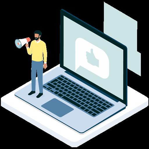 Homme avec un mégaphone debout sur un ordinateur portable ouvert